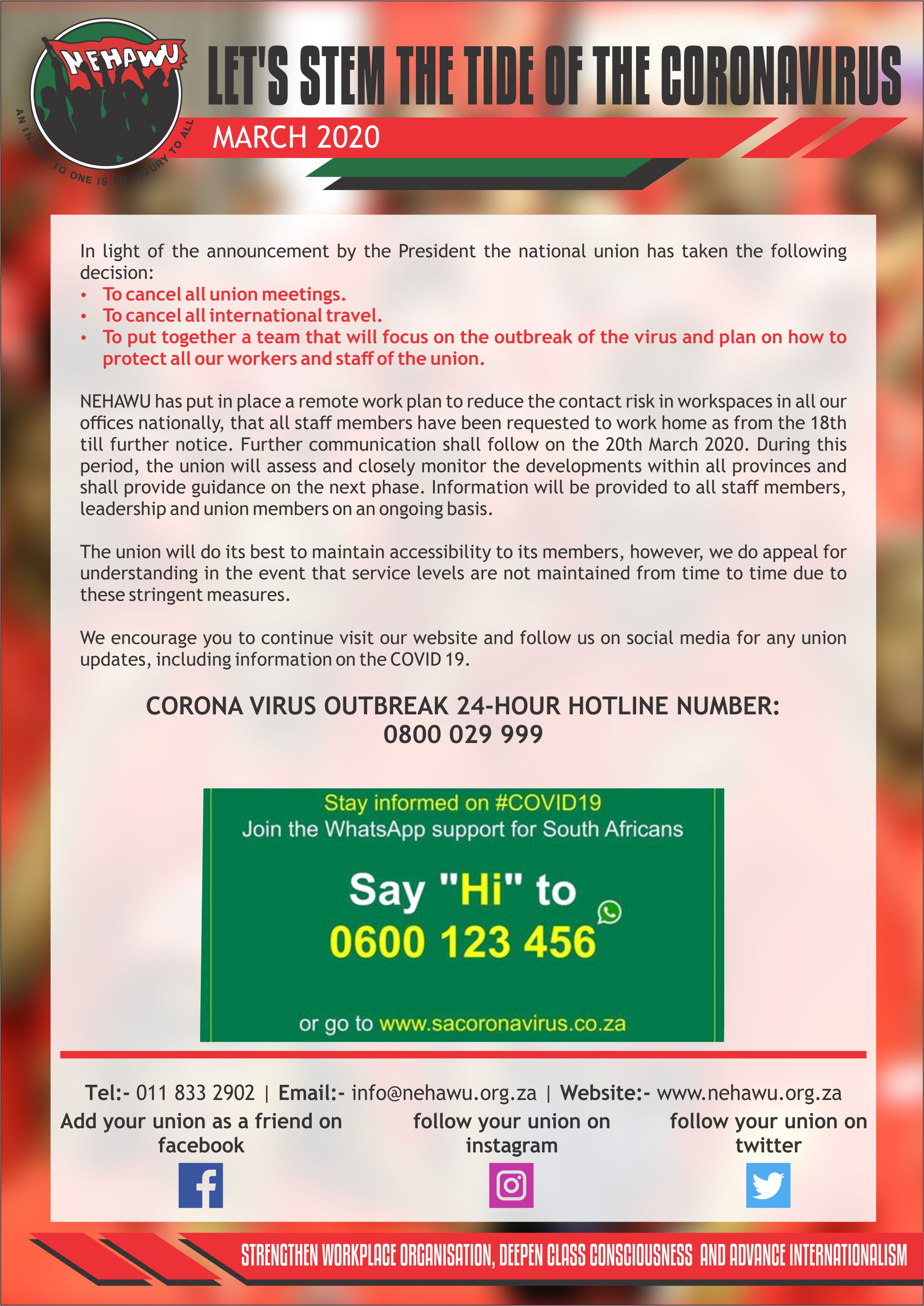 NEHAWU Corona Virus Awareness Campaign