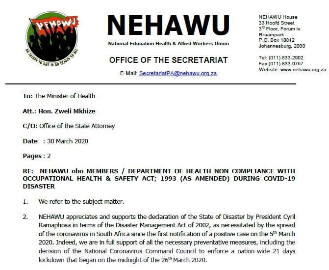 NEHAWU's Letter of Demands On Behalf of Members to Zweli Mkhize